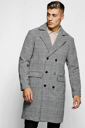 boohoo Prince Of Wales Check Wool Look Overcoat