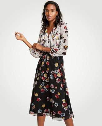 Ann Taylor Petite Winter Floral Midi Dress