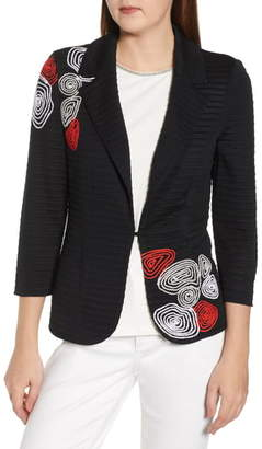 Ming Wang Embroidered Sweater Jacket