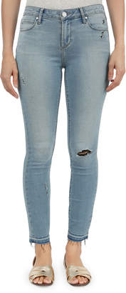 Articles of Society Carly Skinny Crop Distressed Raw-Hem Jeans