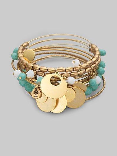 Alex and Ani Blue Bell Bangle Bracelet Set