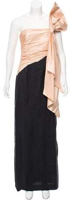 Bill Blass Bow-Accented Evening Dress