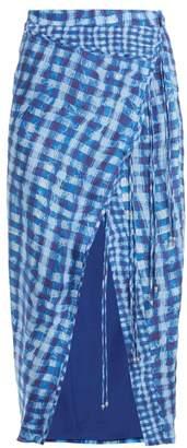 Altuzarra Cicero Gingham Silk Crepe De Chine Pencil Skirt - Womens - Blue Multi