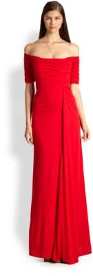 Badgley Mischka Off-Shoulder Jersey Gown