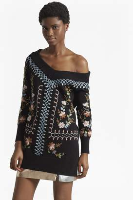 French Connection Bijou Embroidery Knit V Neck Jumper