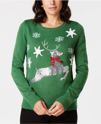 Karen Scott Sequined-Reindeer Holiday Sweater, Created for Macy's
