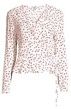 Rails Women's Simone Heart Print Ruffle Wrap Blouse