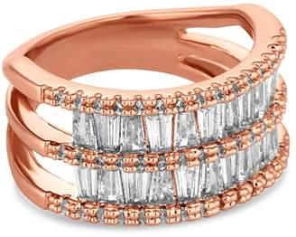 Jon Richard Rose Gold Crystal Double Row Ring