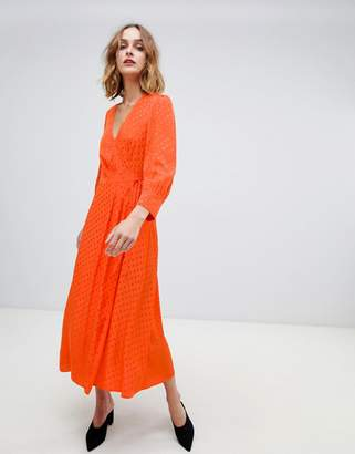 Warehouse wrap front spot midi dress in orange
