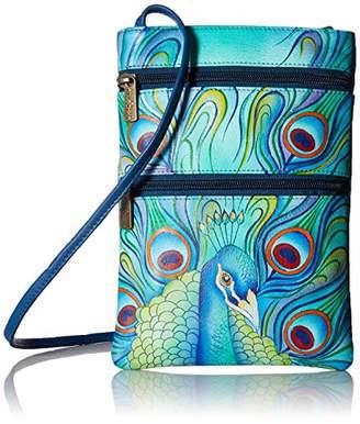 Anuschka Women's Genuine Leather Hand Painted Double Zip Travel Crossbody Bag |