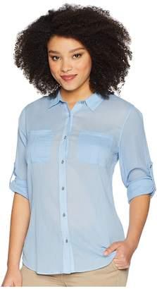 Calvin Klein Crinkle Roll Sleeve Blouse Women's Blouse