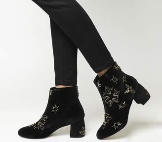 65af17c625a Office Arch Enemy Block Heel Boots Black Velvet Gold Embellishment