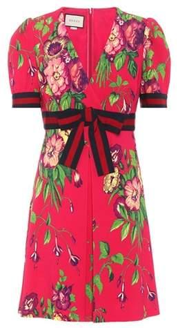 Gucci Floral-printed crêpe mini dress