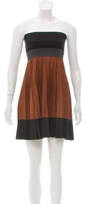 A.L.C. Leather Strapless Pleated Mini Dress