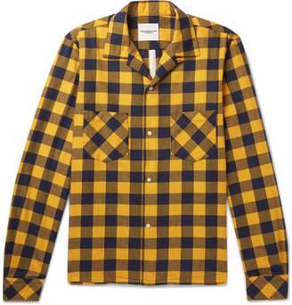TAKAHIROMIYASHITA TheSoloist. Camp-Collar Distressed Checked Cotton-Blend Flannel Shirt