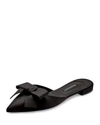 Prada Pointed-Toe Bow Slide Flat, Nero $650 thestylecure.com