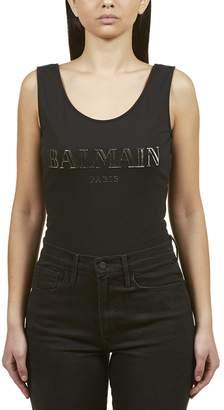 Balmain Logo Plaque Tank Top