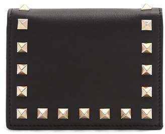 Valentino Rockstud Bi Fold Leather Wallet - Womens - Black