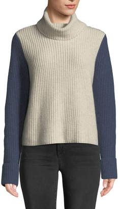Autumn Cashmere Cuffed Colorblock Turtleneck Cashmere Sweater