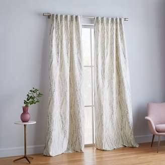 west elm Bark Texture Shine Jacquard Curtain - Platinum