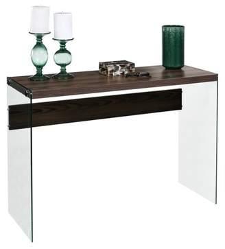 clear OneSpace Escher Skye Console Sofa Table, Glass, Walnut