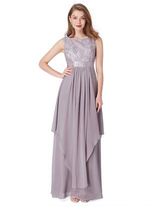 Ever-Pretty Womens Sleeveless Round Neck Evening Party Dress US Grey