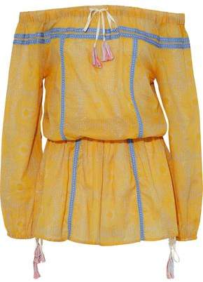 Lemlem Off-The-Shoulder Printed Cotton-Gauze Mini Dress