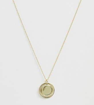 Asos DESIGN Curve Sterling silver with gold plate necklace with etched disc pendant