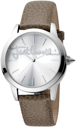 Just Cavalli 36mm Logo Watch w/ Leather Strap, Gray