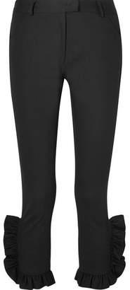 Preen Line Kala Cropped Ruffled Stretch-cotton Twill Slim-leg Pants - Black