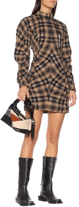Ganni Check cotton-blend minidress