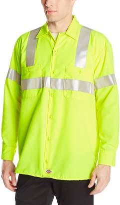 Dickies Men's Hi-Visibility Long Sleeve Work Shirt Ansi Class 2