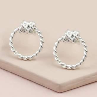 e2ef32e2b Lisa Angel Sterling Silver Rope Hoop Stud Earrings