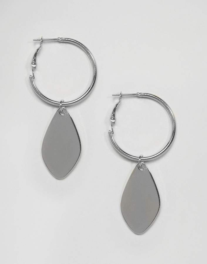 DesignB London Drop Charm Mini Hoop Earrings