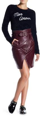 Romeo & Juliet Couture Belted Zip Faux Leather Skirt