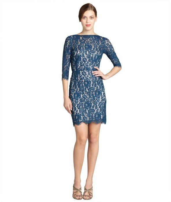 Aijek teal stretch lace 3/4 sleeve dress