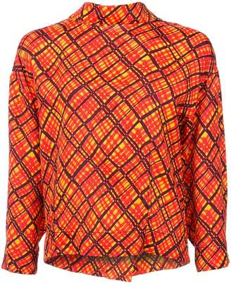 Marni abstract check mock neck blouse