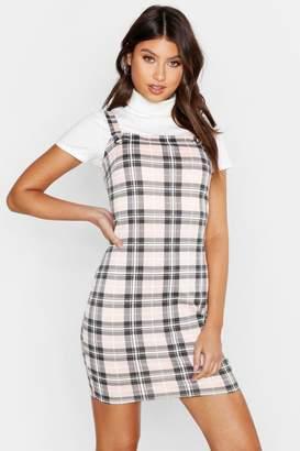 boohoo Check Pinafore Dress