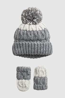 819affdce6d Next Boys Grey Ombre Hat And Mittens Two Piece Set (Younger)