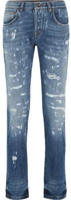 Dolce & Gabbana Distressed Slim Boyfriend Jeans - Mid denim