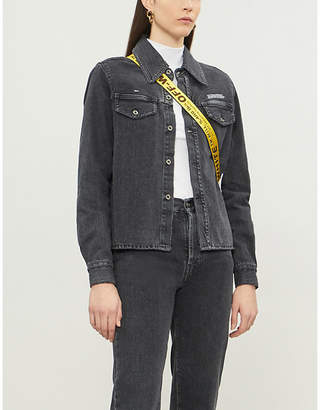 Off-White Asymmetric faded denim jacket