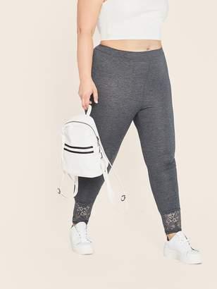 Shein Plus Lace Hem Skinny Leggings