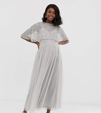 Maya Maternity delicate embellished cape midaxi dress in soft grey