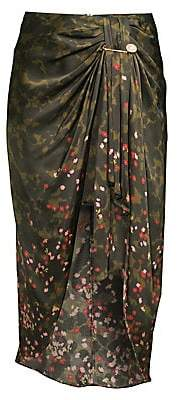 Mother of Pearl Women's Emma Camo Floral Ruched Midi Skirt