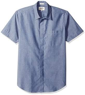 Casual Terrains Men's Tailored Slim-Fit Short-Sleeve Vintage Style Hidden Placket Shirt .