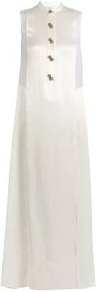 LANVIN Embellished-button sheer-panel satin gown $3,855 thestylecure.com