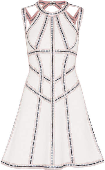 Herve Leger Cutout Embroidered Stretch Pointelle-knit Mini Dress