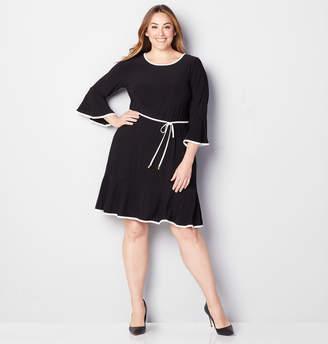 Avenue Contrast Trim Flounce A-Line Dress