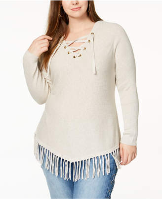 INC International Concepts I.N.C. Plus Size Lace-Up Fringe Tunic Sweater, Created for Macy's