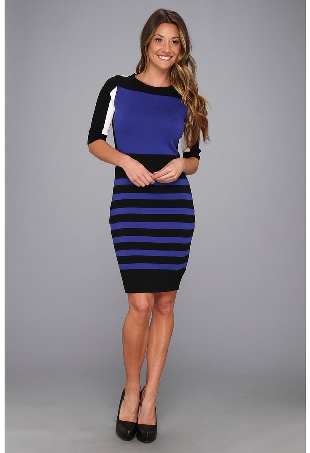 Laundry by Shelli Segal Color Block Sweater Dress (Twilight) - Apparel